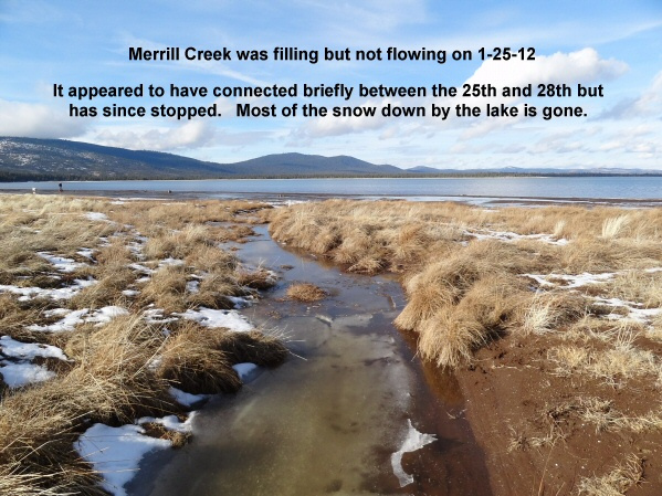 Merrill Creek was filling but not flowing on 1-25-12