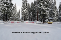 Entrance to Merrill Campground 12-26-12