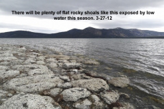 More rocky shoals like this will be exposed by lower water levels this season 3-27-12