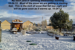 One inch of snow Wed morning will be gone shortly 10-24-12