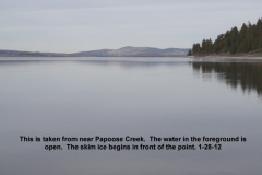 Open water at Papoose Cr but ice before the point 1-28-12