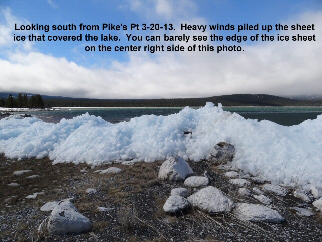 Lake ice piled up by heavy winds 3-20-13