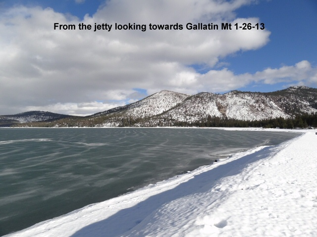 Looking towards Gallatin Mt from the jetty 1-26-13