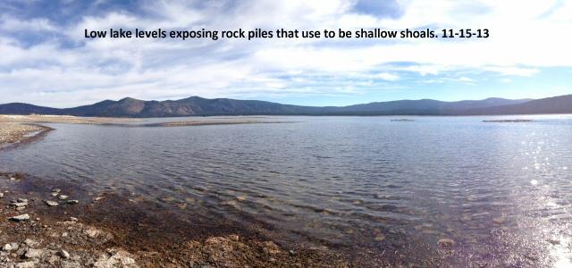 Low water level exposing rock piles 11-15-13