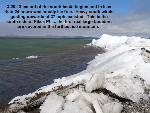 South side of Pikes during ice out 3-20-13