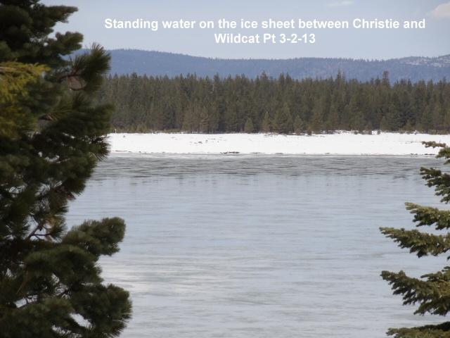 Standing water on the ice sheet between Christie and Wildcat Pt 3-2-13