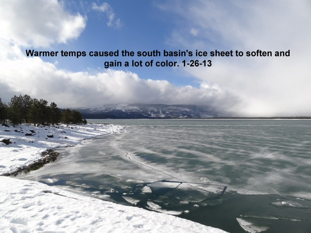 Warmer temps taking their toll on the ice sheet 1-26-13