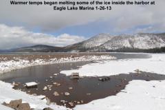 Warmer temps began melting ice inside the harbor at Eagle Lake Marina 1-26-13