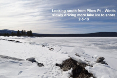 Winds slowly pushjng the ice sheets ashore in places 2-5-13