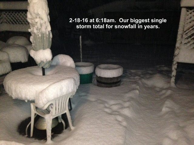 The biggest overnight snowfall in years 2-18-16